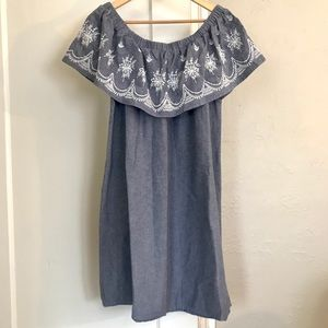 Off Shoulder Embroidered Chambray Shift Dress